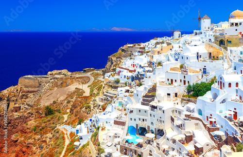 View of Oia most beautiful village of Santorini island in Greece