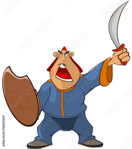 Foto op Aluminium Babykamer Illustration of a Soldier Mongol. Cartoon Character