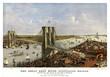 Brooklyn Bridge, New York, Old aerial view of. Currier & Yves, New York, 1885.