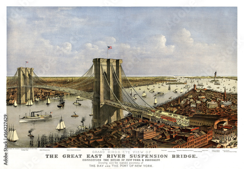 Brooklyn Bridge, New York, Old aerial view of. Currier & Yves, New York, 1885. - 166227629