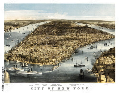 New York old aerial view. By Charles Parsons. Publ. N. Currier, New York, 1856 - 166227814