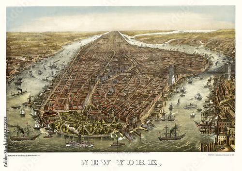 New York old aerial view. By Geroge Schlegel. Publ. Geo. Degen, New York, 1873 - 166227833