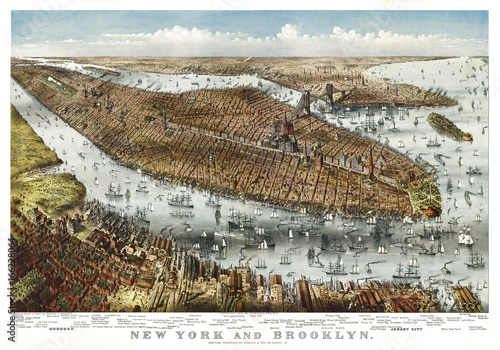 New York, old aerial view. By Parsons & Atwater, publ. Currier & Yves, New York, 1875 - 166228064