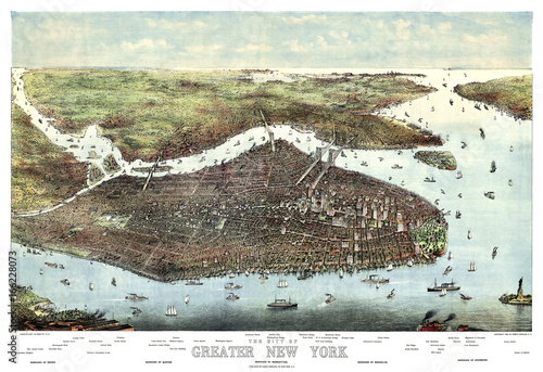 New York old aerial view. By Charles Hart. Publ. Joseph Koeher, New York, 1905 - 166228073
