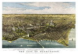 Washington D.C., Old aerial view of from the Potomac. Currier & Yves, New York, 1892 - 166228232