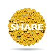 emoji emoticon character faces in a circle with message - 166229264