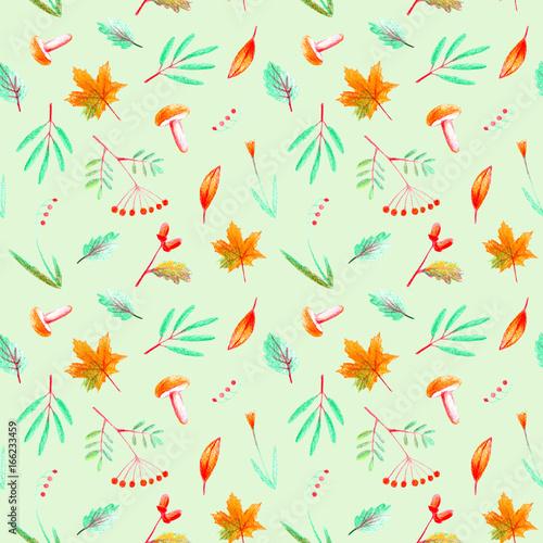 Materiał do szycia Jednolity wzór kwiat, roślin, jarzębiny, Żołądź, klon i grzyb. Jesień i zioła obrazu. Akwarela i ołówek kolor ilustracja. Zielone tło.