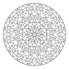 Christmas Mandala. Round Element For Coloring Book. Black Lines on White Background. Abstract Geometric Ornament. Vector.