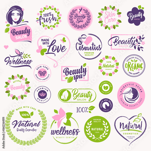 Set of beauty, natural cosmetics and healthcare signs and elements. Vector illustration concepts for web design, packaging design, promotional material. - 166236499