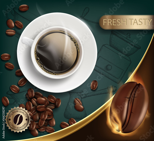 Cup with a coffee and beans