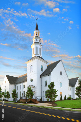 White Christian Catholic Baptist Church at Sunrise with tower and cross, Religion, God, Steeple - 166240826