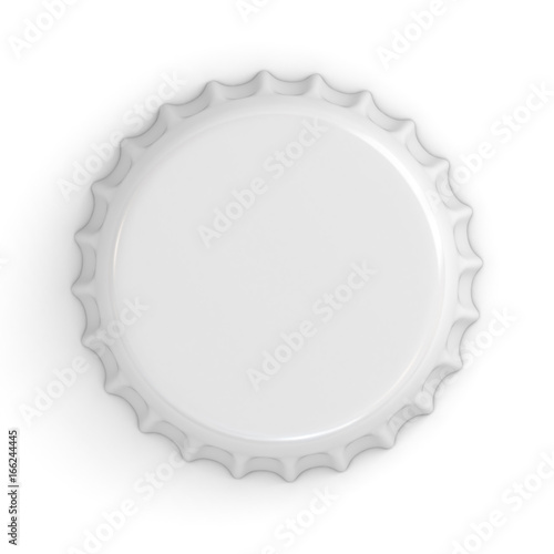 Blank white bottle cap isolated on white background with shadow . 3D rendering.