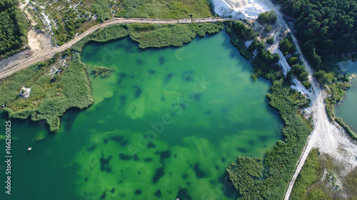 Aerial landscape with turquoise water