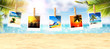 Quadro Schöner Strand mit Polaroid Fotos - Urlaub Konzept