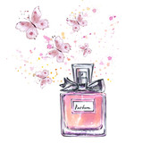 Beautiful perfume bottle spraying butterflies - 166269049