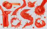 Fototapety Red paint splash. Tomato, Strawberries. 3d realistic vector icon set