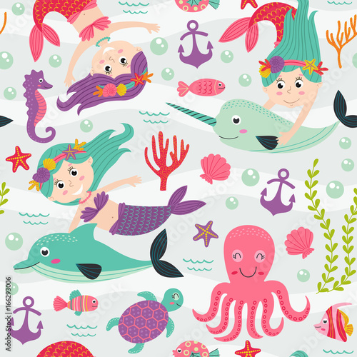 Cotton fabric seamless pattern with mermaid and marine animals  -  vector illustration, eps