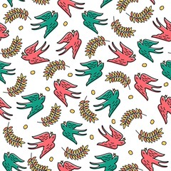 Seamless vector pattern with colored swallows and twigs.