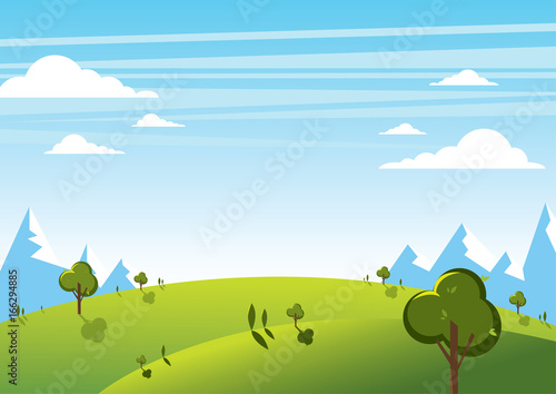 Summer mountain landscape with sky background. Vector illustration.