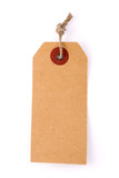 Cardboard price label note with rope isolated on the white background - 166299299