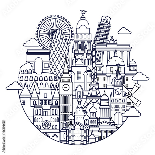 Europe skyline detailed silhouette. Line art vector illustration
