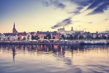 Szczecin waterfront at sunset, color toning applied, Poland.