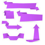 Violet origami paper banners - 166310049