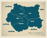 Modern Map - West Yorkshire metropolitan county with district labels England UK - 166310277