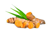turmeric root with green leaves isolated on white background - 166310625
