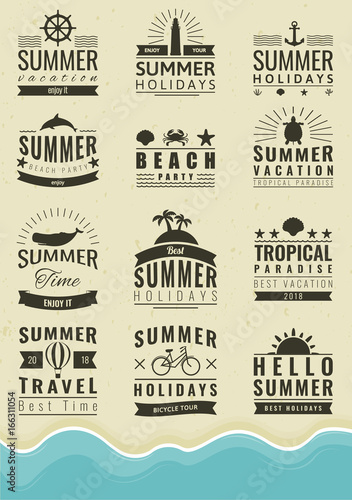 Summer labels, logos, tags and elements set for summer holiday, travel, beach party, vacation. Vector - 166311054