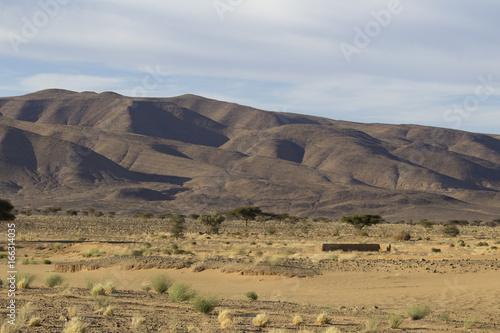 Paysage montagne et sable désert Sahara Maroc