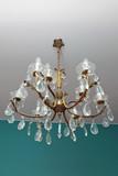 lustre ancien six branches en cristal et bronze doré avec pampilles - 166315095