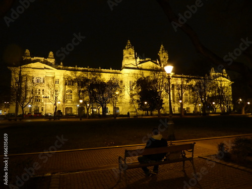 Man sitting in front of Budapest Parliament