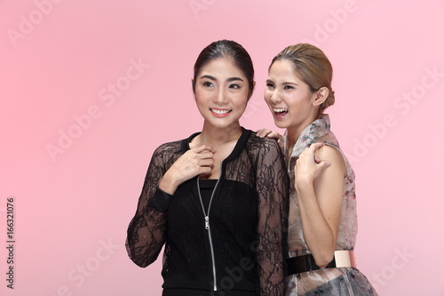 Group of Two Asian Beautiful Women in Fashion Make Up Wrap hair style in black s Poster