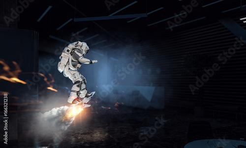 Foto op Canvas UFO Astronaut surfing dark sky. Mixed media