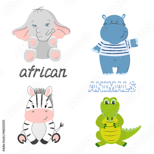 Set of cute cartoon african animals isolated on white - elephant, zebra, crocodile and hippo. Vector illustration.