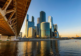 Skyscrapers of Moscow City business center and Moscow river in Moscow, Russia