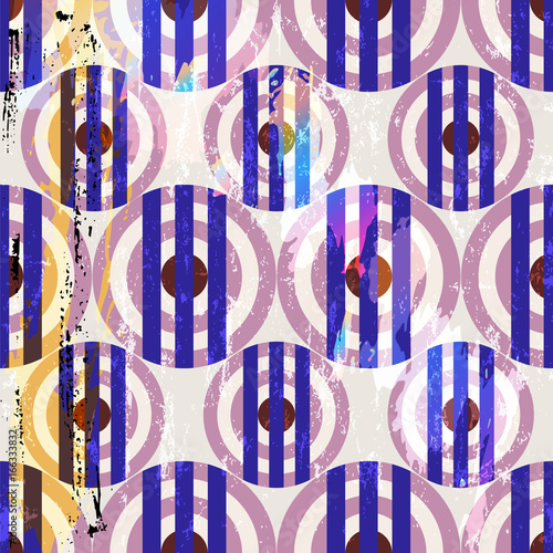 Fotobehang Abstract met Penseelstreken seamless pattern background, retro/vintage style, with circles, stripes, strokes and splashes