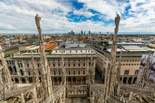 Spoed canvasdoek 2cm dik Milan Cityscape of Milan - view from the Cathedral (Duomo di Milano), Italy