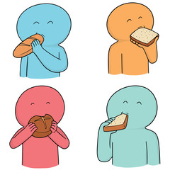 vector set of people eating bread