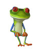 3d illustration of a green cartoon frog in a sitting position.