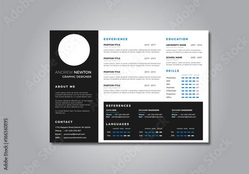 Cv Resume Clean Design Vector Template Curriculum Vitae Buy