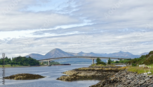 View of the Skye Road Bridge over Loch Alsh from the Isle of Skye to the island of Eilian Ban, Scotland, United Kingdom