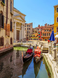 Venice - View from water canal to old buildings