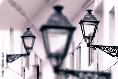 Antique street lamp abstract background.City and old streetlight detail.Town and urban architecture