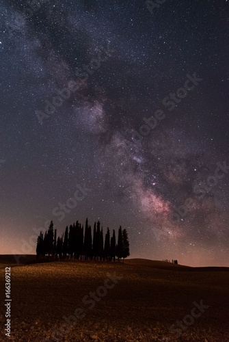 Deurstickers Toscane Milky Way and cypress d'Orcia