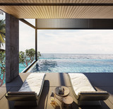 Swing sofa and daybed on the Swimming pool