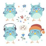 vector cartoon style owl set