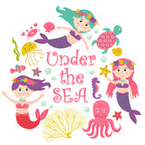 Card  Mermaid Under The Sea   Illustration Eps Wall Sticker