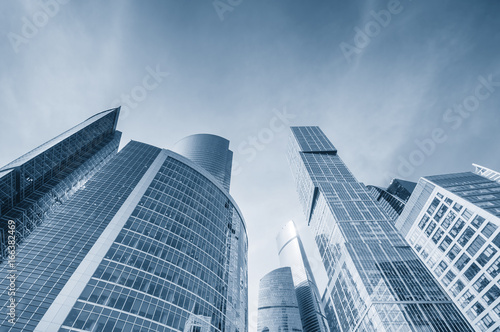 Low angle view modern skyscrapers